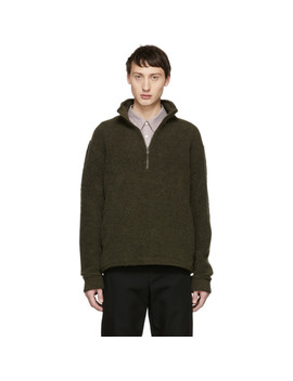 Khaki Beaver Zip Up Sweater by A.P.C.
