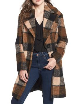 Plaid Cocoon Coat by Kensie