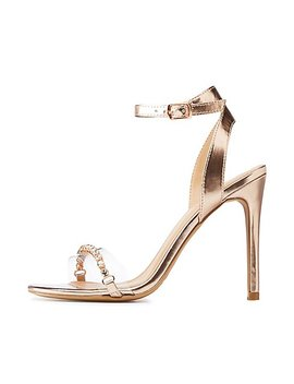 Metallic Ankle Strap Stiletto Sandals by Charlotte Russe