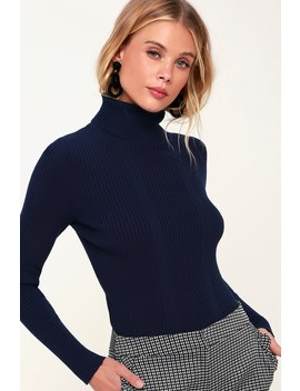 Forever Fave Navy Blue Ribbed Turtleneck Top by Lulus