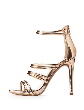 Metallic Caged Tubular Platform Sandals by Charlotte Russe