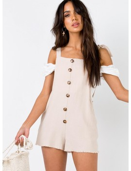 The Clarke Playsuit Beige by Princess Polly