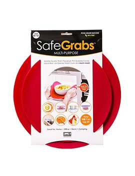 Safe Grabs Seen On Shark Tank: Multi Purpose Silicone Microwave Mat, Bpa Free Kitchen Tool, Set Of 2, Red by Safe Grabs
