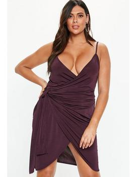 Plus Size Plum Wrap Slip Dress by Missguided