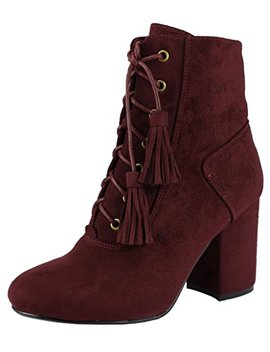 Nature Breeze Women's Closed Toe Lace Up Tassel Chunky Block Heel Ankle Bootie by Nature Breeze