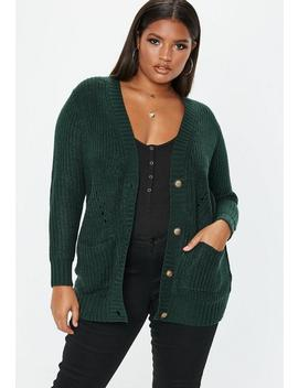 Plus Size Green Button Through Cardigan by Missguided