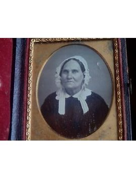 1/9 Plate Daguerreotype Starring Woman With White Hat Bonnet Stern Face by Ebay Seller