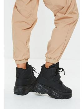 Black Super Chunky Sole Utility Sneaker Boots by Missguided