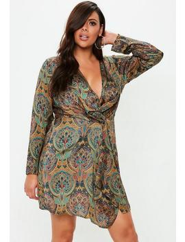 Plus Size Paisley Gathered Mini Dress by Missguided