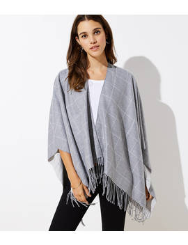 Reversible Plaid Poncho Wrap by Loft