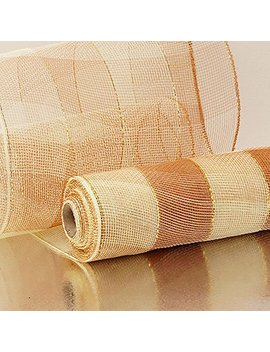 "10"" X10 Yards Ivory/Brown 2 Colored Wide Stripe Deco Mesh by Paper Mart"