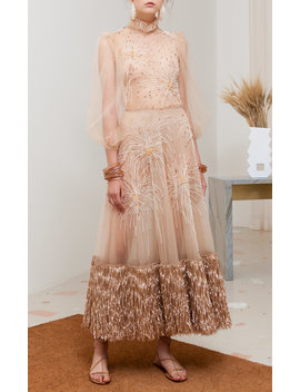 Feu D'artifice Embroidered Tulle Dress by Sandra Mansour