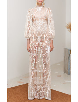 Caramel Embroidered Tulle Dress by Sandra Mansour