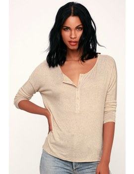 Greyson Beige Long Dolman Sleeve Henley Top by Lulus