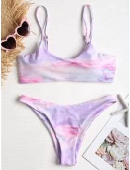 Tie Dye High Cut Knot Bikini   Mauve M by Zaful