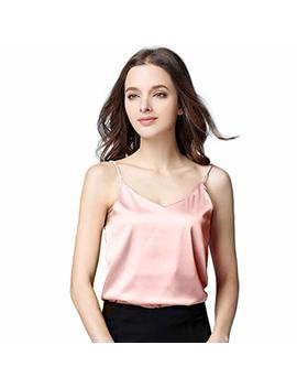 Runbery Sexy Women's Silk Tank Top Ladies Camisole Silky Loose Sleeveless Blouse Tank Shirt With Soft Satin by Runbery