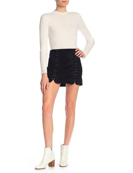 Faux Suede Mini Skirt by Tractr