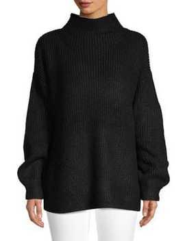 Classic Blouson Sleeve Sweater by H Halston