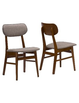 Sacramento Mid Century Gray Faux Leather Dining Chairs   Brown Walnut/Gray (Set Of 2)   Baxton Studio by Baxton Studio