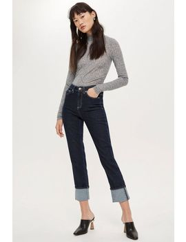 Indigo Turn Up Straight Leg Jeans by Topshop