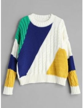 Cable Color Block Drop Shoulder Sweater   Multi by Zaful