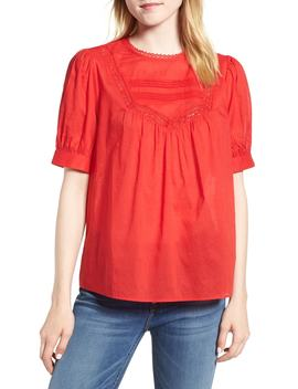 Lace Trim Cotton Top by Hinge