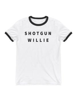 Shotgun Willie   Retro Willie Nelson Outlaw Tee Shirt   Ringer T Shirt Bluegrass Gear 1970s Clothing Men Women Tee Shirts Unisex Tee Shirt by Etsy