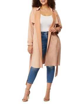 Faux Suede Trench Coat (Plus Size) by Rebel Wilson X Angels