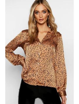 Dalmatian Spot Revere Collar Shirt by Boohoo
