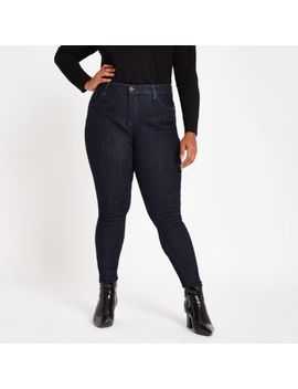 Plus Dark Blue Mid Rise Skinny Amelie Jeans by River Island