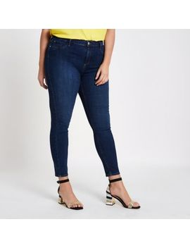 Plus Dark Blue Molly Super Skinny Jeggings by River Island