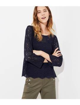 Floral Lace Button Back Top by Loft