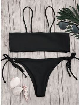 Bandeau Bikini Top And Tieside String Bottoms   Black L by Zaful