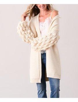 Beige Pom Pom Sleeve Cardigan   Women & Plus by Simply Couture