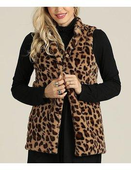 Brown Leopard Print Vest   Women & Plus by Suzanne Betro
