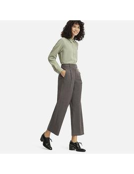 Women High Waisted Tucked Wide Leg Trousers by Uniqlo