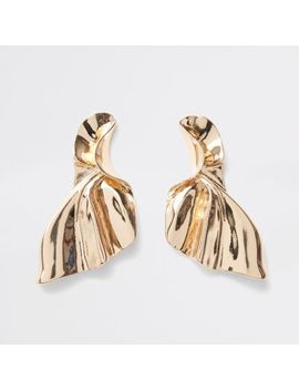 Gold Tone Fan Stud Earrings by River Island