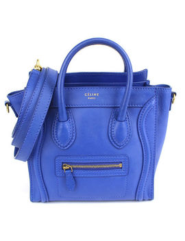 Celine Luggage Nano Shopper Blue Calfskin Leather 2 Way Shoulder Bag #43303 by CÉline