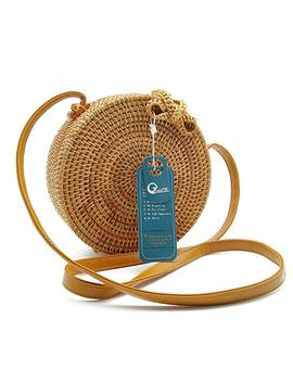 Rattan Bag, Grace Fine Round Hand Woven Ata Rattan Crossbody Bags, Rattan Purse For Women by Grace Fine