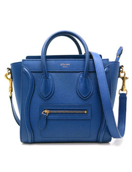 Auth Celine Blue Leather Nano Shopper Handbag Shoulder Bag Crossbody (Dh48238) by Celine