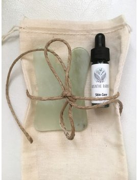 Jade Gua Sha Stone And Free Sample Of Blue De Puffing Elixir by Etsy