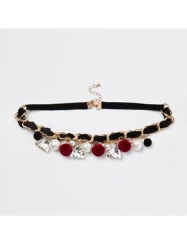 Black Gold Tone Jewel And Pom Pom Necklace by River Island