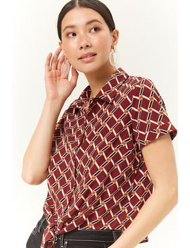 Geo Print Knotted Shirt by Forever 21