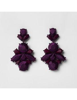 Purple Satin Jewel Drop Stud Earrings by River Island