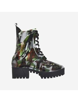 Dashing Chunky Sole Lace Up Ankle Boot In Camouflage Patent by Ego