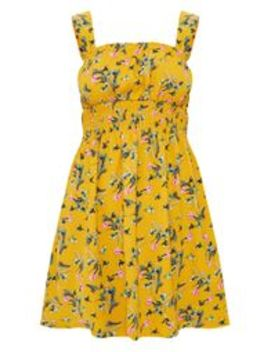 Mustard Floral Frill Detail Skater Dress by Prettylittlething