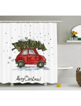 The Holiday Aisle Christmas Retro Car With Tree Shower Curtain & Reviews by The Holiday Aisle