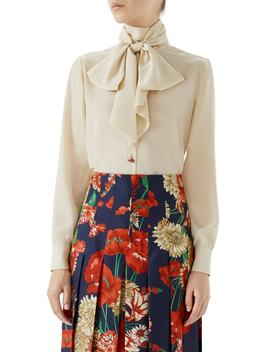 Silk Crêpe De Chine Bow Blouse by Gucci