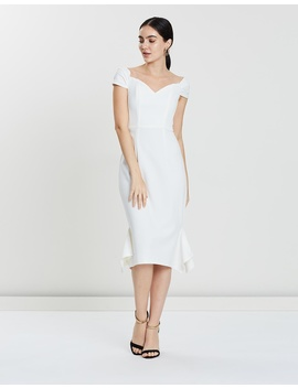 Viola Off Shoulder Fluted Midi by Lumier