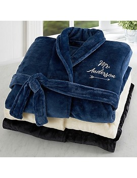 Mr. Embroidered Luxury Fleece Robe by Bed Bath And Beyond